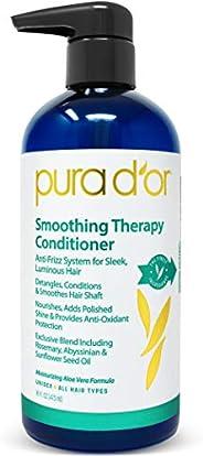PURA D'OR 光滑护理护发素,适用于防毛躁拉直和平滑暗淡,干燥,脆弱的*,含有天然*成分,男女适用,16 液体盎司(约 45.7