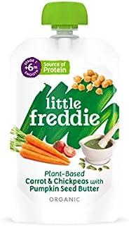 Little Freddie,Little Freddie 有机婴儿食品第 1 阶段胡萝卜和鹰嘴豆配南瓜籽黄油,6x120 克小袋-6 个月起,720 克