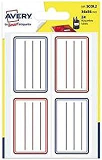 Avery A6 每包24张学校标签 – 36x56毫米纸板 – 蓝色和红色线条(scol2)