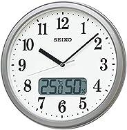 Seiko 精工 挂钟 05:银色金属 02:直径31cm 电波 模拟 温度&湿度显示 KX