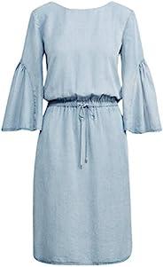 RALPH LAUREN Lauren 女式棉斜纹荷叶边袖宽松拉绳连衣裙