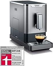 SEVERIN 全自动咖啡机 带咖啡豆研磨器 超紧凑纤薄设计,环保模式,KV 8090,灰色/黑色