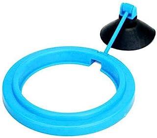 鱼饲养环,鱼类浮动食物喂食器带水瓶吸盘,ABS 方形/圆形鱼缸鱼饲料器(圆形,蓝色)