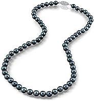 THE PEARL SOURCE 14K 金圆形纯正黑色日本 Akoya 海水养殖珍珠项链 45.72 厘米公主长度 女式