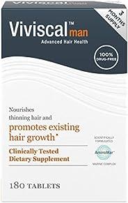 Viviscal 男士毛发补充剂,适合更浓密、更丰盈的毛发,已证明含有胶原蛋白复合物,180 片 - 3 个月用量