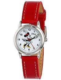 Disney 女士 MN1023 米妮白色表盤紅色表帶