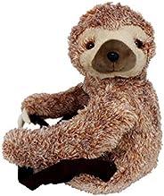 毛绒填充动物树懒背包,带拉链封口和织物衬里,19 英寸