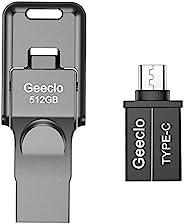 闪存盘 512GB,Geeclo *棒 512GB 跳跃拇指驱动器 USB 3.0 闪存盘 兼容任何手机 / 安卓和电脑更新(深*)