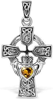 WithLoveSilver 纯银 925 凯尔特十字架和克拉达心形吊坠