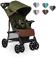 Lionelo Emma Plus 婴儿推车 轻巧 现代 小型婴儿车 带躺卧位置可折叠 森林绿