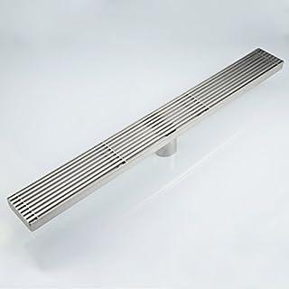 S_HomeStore 24 英寸(约 61.9 厘米)直线淋浴排水矩形排水淋浴 SUS304 不锈钢长淋浴地漏 适用于淋浴排水管 银色