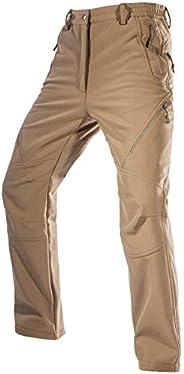 FREE SOLDIER 男式抓绒内衬防水软壳滑雪裤,带拉链口袋