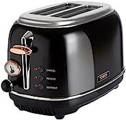 Tower Bottega T20016 烤面包機,2片面包,焦烤控制,不銹鋼,解凍,再加熱和取消設置,可拆卸面包屑托盤,810 W,黑色和玫瑰金