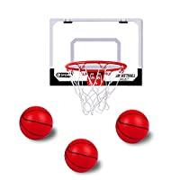 Bigzzia 室内篮球框包括 3 个迷你篮球和手泵带针,适合门墙儿童成人室内玩耍