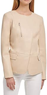 DKNY 女式人造皮革不对称无领外套