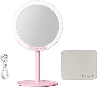 发光化妆镜 3 色照明模式 LED 化妆镜带灯光,可拆卸 7 倍放大镜,USB 充电照明化妆镜带 2000 毫安时锂电池 (M101-粉色)
