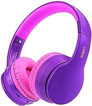Lobkin 头戴式耳机带麦克风,立体声高保真声音,FM 收音机 TF 可折叠便携式耳机,适用于电视/旅行/家庭/办公室/班级/商务无线耳机(紫色)