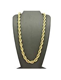 Dubai Collections 绳链 7MM 24K 钻石切割珠宝项链*一生**