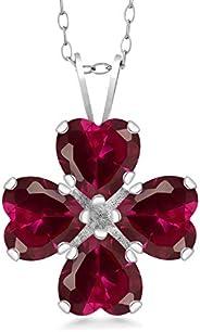 Gem Stone King 925 纯银红色人造红宝石吊坠项链(3.84 克拉心形,18 英寸链)