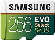Samsung 三星 EVO Select 256 GB microSD 100MB/s 速度,全高清&4K UHD 存储卡,包括SD适配器,适用于智能手机,平板电脑,动作摄像头,无人机和笔