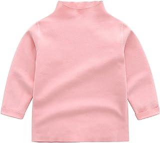 儿童女婴长袖高领衬衫基本纯色 T 恤上衣小女孩衬衫幼儿秋季服装