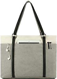 Wearigoo 女式笔记本电脑手提包,15.6 英寸(约 39.1 厘米)帆布大单肩钱包,带拉链和口袋