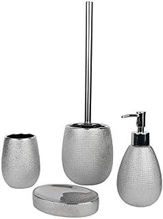 axentia 闪光浴室套装,银色/黑色,约 13 x 32 x 20 厘米