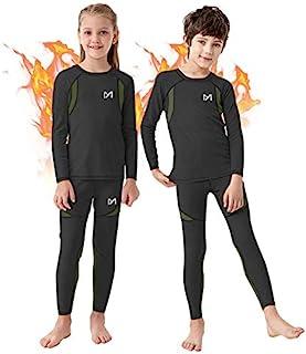 男孩保暖内衣套装,超柔软羊毛内衬压缩打底层,冬季活动长腿裤适合 8-16 岁儿童