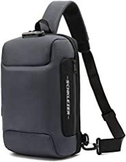 Schkleier 大号斜挎包 防盗 笔记本电脑背包 休闲胸肩背包 带 USB 充电端口 男女皆宜 灰色
