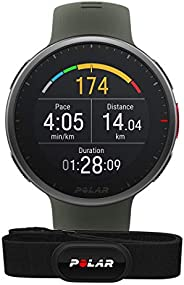 Polar Vantage V2 和 H10 - 优质多功能运动手表 GPS 智能手表 - 手腕上的脉搏测量,用于跑步、游泳、骑自行车 - 音乐控制、天气预报、智能通知