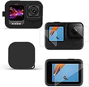 硅胶保护壳套装,外壳保护套带屏幕保护膜,适用于 GoPro Hero 9 黑色屏幕保护膜,适用于 GoPro Hero 9 黑色运动相机配件