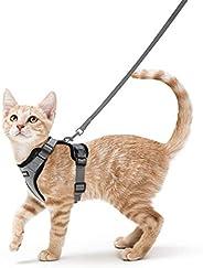 rabbitgoo 猫胸背带和牵引带,防逃生柔软可调节猫背心胸背带,易于控制透气反光条夹克,灰色,S 码(胸围:45.72 厘米 - 50.8 厘米)