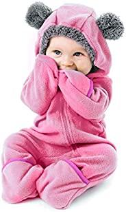 Cuddle Club 抓绒婴儿睡袋连体衣适合新生儿至 4T - 婴儿睡衣冬季夹克外套幼儿服装 Bear - Pink 3T