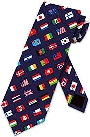 Three Rooker 旗帜领带男式世界国旗领带