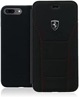 法拉利 FEH488FLBKI8LBK 真皮手机套适用于苹果 iPhone 8 Plus/7 Plus - 黑色