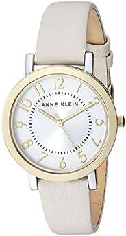 Anne Klein 女士易读皮革表带手表