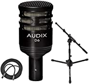 Audix D6 动态麦克风,Cardioid + 终极支持低调麦克风支架带伸缩杆 + XLR 麦克风线