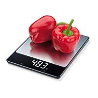 Beurer 33 磅(约 0.9 千克) XL 不锈钢多功能数字厨房食品秤,高度精确,魔力 LED 显示屏,保持和皮重功能,测量单位为磅:盎司,克,千克,含电池,KS34