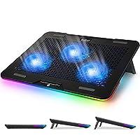 Pccool笔记本电脑散热垫,RGB笔记本电脑冷却架,适用于12-17英寸游戏笔记本电脑,配有3个强大的安静蓝色LED风扇和3个角度可调 - 触摸控制多种灯光模式 - 双USB 2.0端口