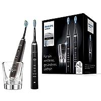 Philips 飛利浦 Sonicare DiamondClean 清潔電動牙刷HX9357/87,2支裝,5種清潔程序, 采用聲波技術,帶計時器和玻璃杯,黑色