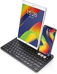 VicTsing 多设备键盘,不锈钢无线蓝牙键盘,带手机支架的迷你键盘,2.4G 可充电超薄无线键盘可切换到 3 个设备,适用于 iPad / Windows/Mac/iOS