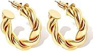 14K 镀金缠绕环状耳环适合女士厚实高抛光轻质金色箍,适合女孩的礼物