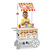 Melissa & Doug 木制零食和糖果食品车(游戏套装和厨房,可翻转遮阳篷,40多件食品,124.46厘米高x 64.77厘米宽x 34.29厘米长)