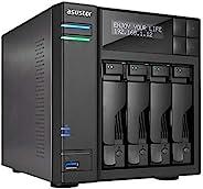 Asustor AS6404T | 网络连接存储 + exFAT 许可证 | 1.5GHz 四核,8GB RAM | 家庭或商业数据媒体服务器(4 个托架无盘NAS)