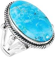 綠松石戒指 純銀 925 純正寶石 尺寸 6 至 11(選擇顏色)