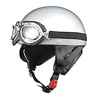 LEAD工業(LEAD) 摩托車頭盔 半盔 CROSS 復古 LL尺寸(61~62厘米以內) CR-751 LL (頭囲 61cm~62cm未満) 銀色 CR-751
