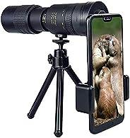 4K 10 – 300 X 40 毫米超远摄变焦单目望远镜,带智能手机适配器三脚架,适用于海滩旅行露营