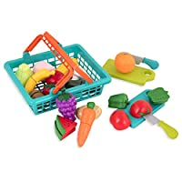 Battat BT2534Z儿童购物篮–玩具厨房配件–过家家切割玩具套装(3岁以上)(37件)