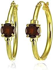 黄金闪光纯银正品、饰条或仿宝石单粒 25 毫米环状耳环