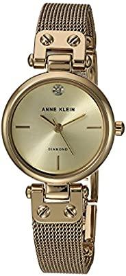 Anne Klein 女士正品钻石表盘网状手链手表